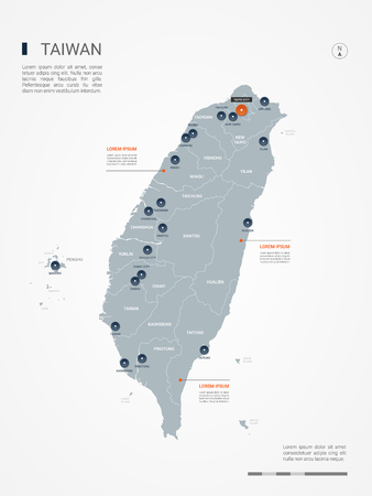 Taiwan map with borders, cities, capital and administrative divisions. Infographic vector map. Editable layers clearly labeled.