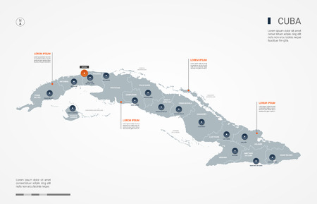 Cuba map with borders, cities, capital and administrative divisions. Infographic vector map. Editable layers clearly labeled.