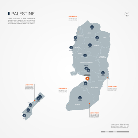 Palestine map with borders, cities, capital and administrative divisions. Infographic vector map. Editable layers clearly labeled.