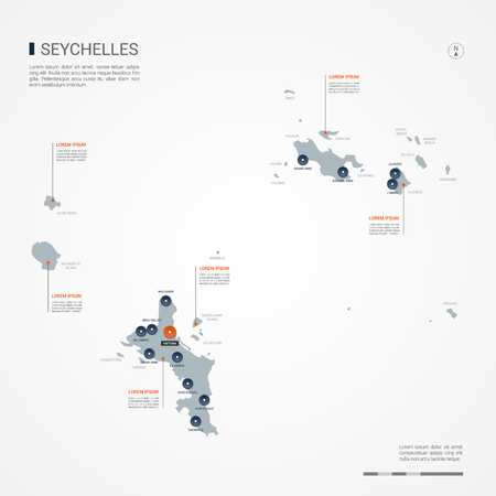 Seychelles map with borders, cities, capital and administrative divisions. Infographic vector map. Editable layers clearly labeled.