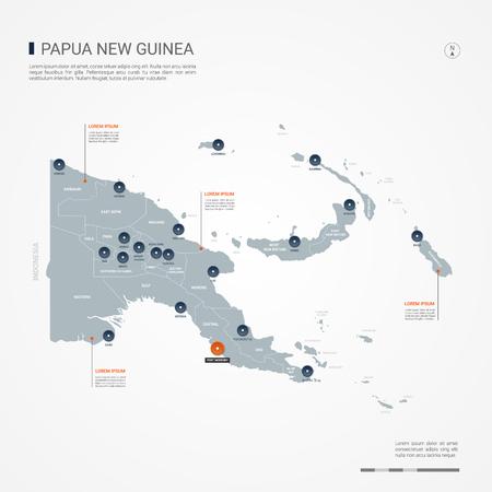 Carte de la Papouasie-Nouvelle-Guinée avec des frontières, des villes, des capitaux et des divisions administratives. Carte vectorielle infographique. Calques modifiables clairement étiquetés. Vecteurs