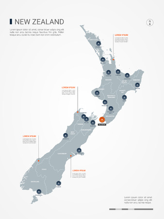 New Zealand map with borders, cities, capital and administrative divisions. Infographic vector map. Editable layers clearly labeled. Ilustrace