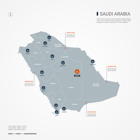 Saudi Arabia map with borders, cities, capital and administrative divisions. Infographic vector map. Editable layers clearly labeled. Ilustração