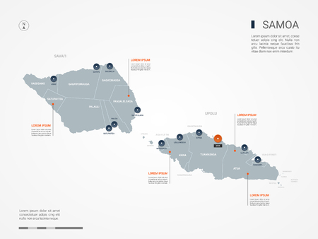 Samoa map with borders, cities, capital and administrative divisions. Infographic vector map. Editable layers clearly labeled.