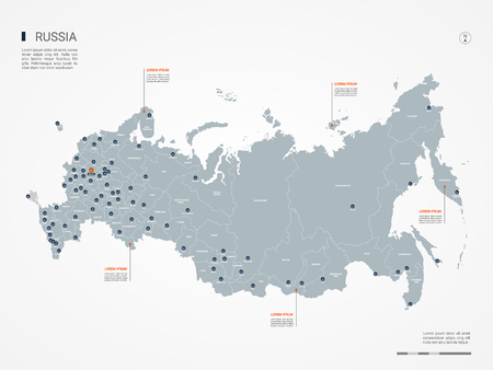 Russia map with borders, cities, capital and administrative divisions. Infographic vector map. Editable layers clearly labeled.