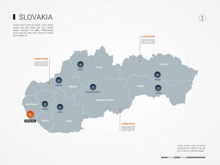 Mapa Słowacji z granicami, miastami, stolicą i podziałami administracyjnymi. Mapa wektorowa plansza. Edytowalne warstwy wyraźnie oznaczone.