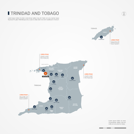 Trinidad and Tobago map with borders, cities, capital and administrative divisions. Infographic vector map. Editable layers clearly labeled.