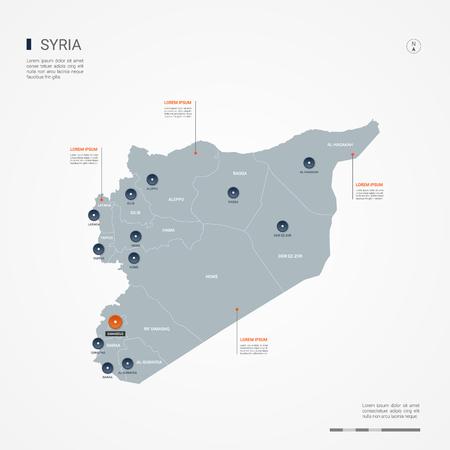 Carte de la Syrie avec des frontières, des villes, des capitaux et des divisions administratives. Carte vectorielle infographique. Calques modifiables clairement étiquetés.