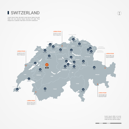 Switzerland map with borders, cities, capital and administrative divisions. Infographic vector map. Editable layers clearly labeled.