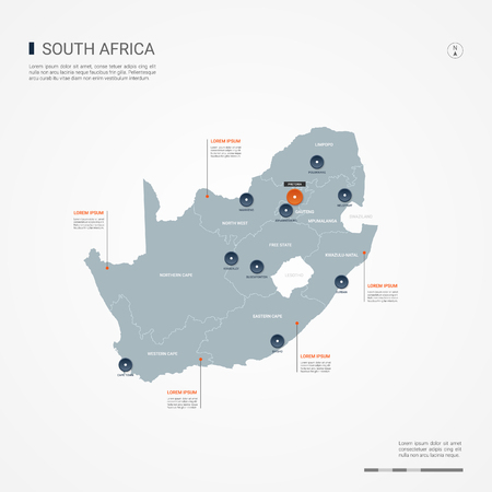 Republic of South Africa map with borders, cities, capital and administrative divisions. Infographic vector map. Editable layers clearly labeled.
