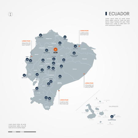 Ecuador map with borders, cities, capital and administrative divisions. Infographic vector map. Editable layers clearly labeled.