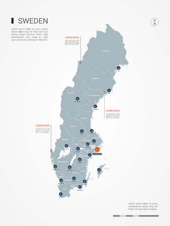 Sweden map with borders, cities, capital and administrative divisions. Infographic vector map. Editable layers clearly labeled.