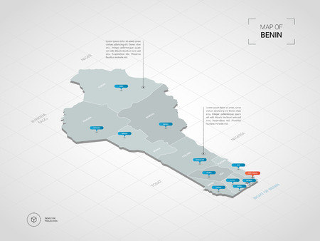 Isometric  3D Benin map. Stylized vector map illustration with cities, borders, capital, administrative divisions and pointer marks; gradient background with grid.