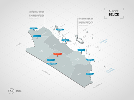 Isometric 3D Belize map. Stylized vector map illustration with cities, borders, capital, administrative divisions and pointer marks; gradient background with grid.