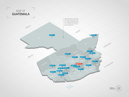 Isometric 3D Guatemala map. Stylized vector map illustration with cities, borders, capital, administrative divisions and pointer marks; gradient background with grid. Vetores