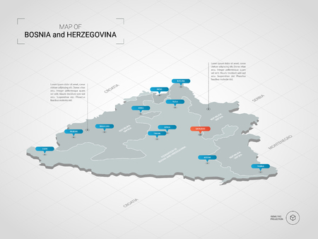 Isometric  3D Bosnia and Herzegovina map. Stylized vector map illustration with cities, borders, capital, administrative divisions and pointer marks; gradient background with grid. Illustration