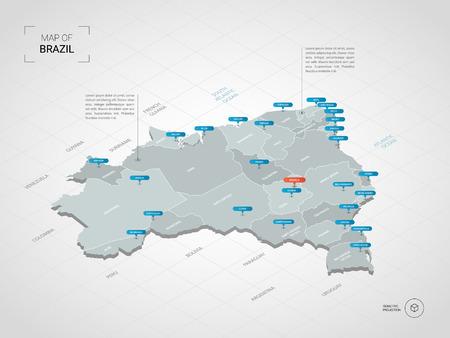 Mapa de Brasil 3D isométrico. Ilustración de mapa vectorial estilizado con ciudades, fronteras, capitales, divisiones administrativas y marcas de puntero; fondo degradado con rejilla.