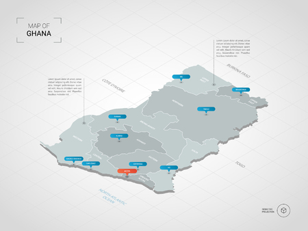 Isometric 3D Ghana map. Stylized vector map illustration with cities, borders, capital, administrative divisions and pointer marks; gradient background with grid.