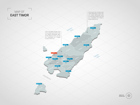 Isometric 3D East Timor map. Stylized vector map illustration with cities, borders, capital, administrative divisions and pointer marks; gradient background with grid.