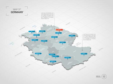 Mapa isométrico 3d de Alemania. Ilustración de mapa vectorial estilizado con ciudades, fronteras, capitales, divisiones administrativas y marcas de puntero; fondo degradado con rejilla.