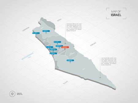 Mappa isometrica 3D di Israele. Illustrazione stilizzata della mappa di vettore con città, confini, capitale, divisioni amministrative e contrassegni del puntatore; sfondo sfumato con griglia.