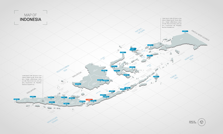 Isometrische 3D-Indonesien-Karte. Stilisierte Vektorkartenillustration mit Städten, Grenzen, Hauptstadt, Verwaltungsabteilungen und Zeigermarken; Verlaufshintergrund mit Gitter.