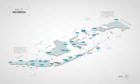 Mappa 3D isometrica dell'Indonesia. Illustrazione stilizzata della mappa di vettore con città, confini, capitale, divisioni amministrative e contrassegni del puntatore; sfondo sfumato con griglia.