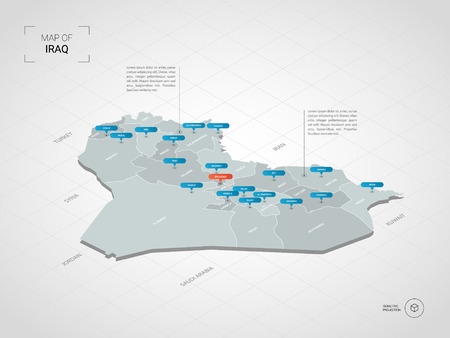 Isometric 3D Iraq map. Stylized vector map illustration with cities, borders, capital, administrative divisions and pointer marks; gradient background with grid. Vector Illustratie
