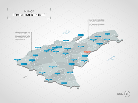 Isometric 3D Dominican Republic map. Stylized vector map illustration with cities, borders, capital, administrative divisions and pointer marks; gradient background with grid.