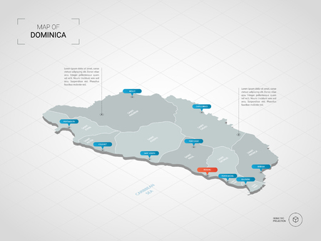 Isometric  3D Dominica map. Stylized vector map illustration with cities, borders, capital, administrative divisions and pointer marks; gradient background with grid.