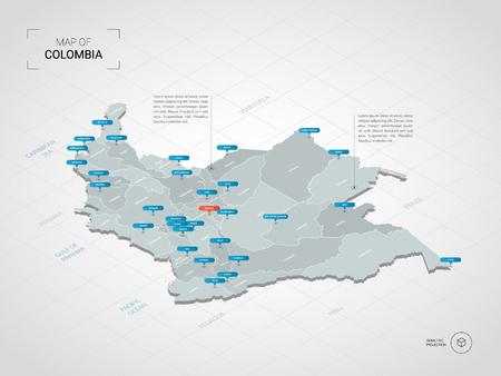 Mapa de Colombia 3D isométrico. Ilustración de mapa vectorial estilizado con ciudades, fronteras, capitales, divisiones administrativas y marcas de puntero; fondo degradado con rejilla.