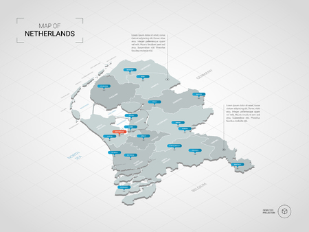 Isometric  3D Netherlands map. Stylized vector map illustration with cities, borders, capital, administrative divisions and pointer marks; gradient background with grid. 矢量图像