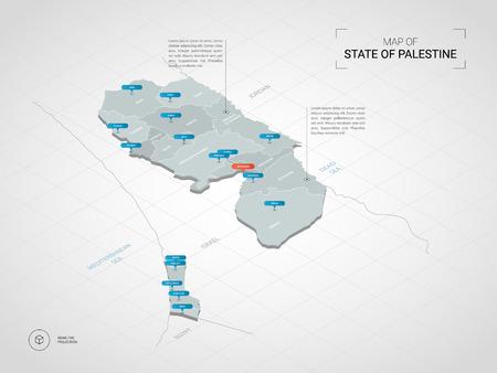 Mappa 3D isometrica della Palestina. Illustrazione stilizzata della mappa di vettore con città, confini, capitale, divisioni amministrative e contrassegni del puntatore; sfondo sfumato con griglia.
