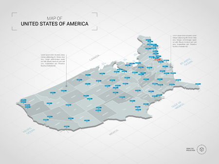 Isometric  3D United States of America USA map. Stylized vector map illustration with cities, borders, capital, administrative divisions and pointer marks; gradient background with grid.