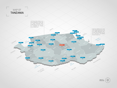 Isometric 3D Tanzania map. Stylized vector map illustration with cities, borders, capital, administrative divisions and pointer marks; gradient background with grid.