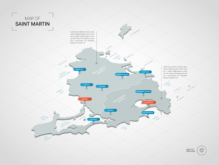 Isometric  3D Saint Martin map. Stylized vector map illustration with cities, borders, capital, administrative divisions and pointer marks; gradient background with grid.