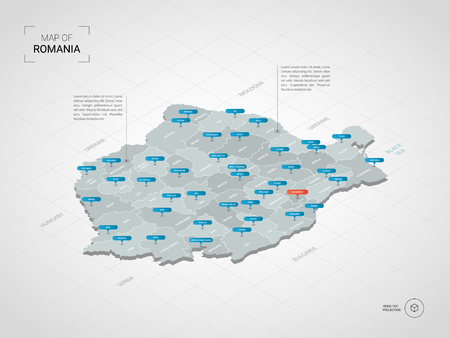 Isometric 3D Romania map. Stylized vector map illustration with cities, borders, capital, administrative divisions and pointer marks; gradient background with grid.