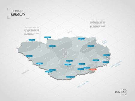 Isometric  3D Uruguay map. Stylized vector map illustration with cities, borders, capital, administrative divisions and pointer marks; gradient background with grid. Imagens - 109852276