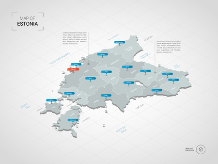 Isometric 3D Estonia map. Stylized vector map illustration with cities, borders, capital, administrative divisions and pointer marks; gradient background with grid.