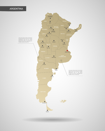 Stylized vector Argentina map.  Infographic 3d gold map illustration with cities, borders, capital, administrative divisions and pointer marks, shadow; gradient background. Vettoriali