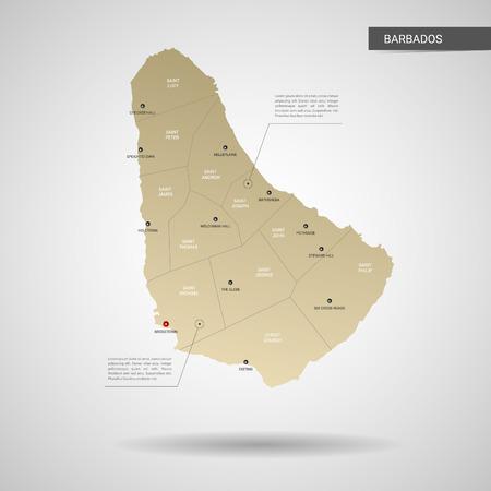 Carte de la Barbade vectorielle stylisée. Infographie 3d illustration de carte d'or avec villes, frontières, capitale, divisions administratives et marques de pointeur, ombre ; fond dégradé.