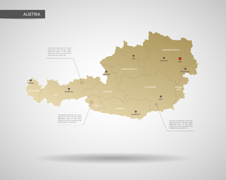 Stylized vector Austria map.  Infographic 3d gold map illustration with cities, borders, capital, administrative divisions and pointer marks, shadow; gradient background. Illustration