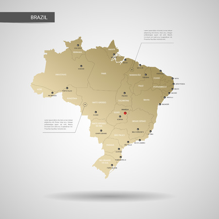 Stylized vector Brazil map.  Infographic 3d gold map illustration with cities, borders, capital, administrative divisions and pointer marks, shadow; gradient background. Illustration