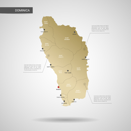 Stylized vector Dominica map.  Infographic 3d gold map illustration with cities, borders, capital, administrative divisions and pointer marks, shadow; gradient background. 向量圖像