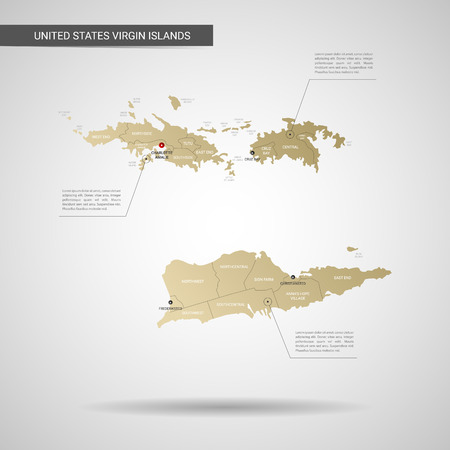 Stylized vector Virgin Islands map.  Infographic 3d gold map illustration with cities, borders, capital, administrative divisions and pointer marks, shadow; gradient background. Illustration