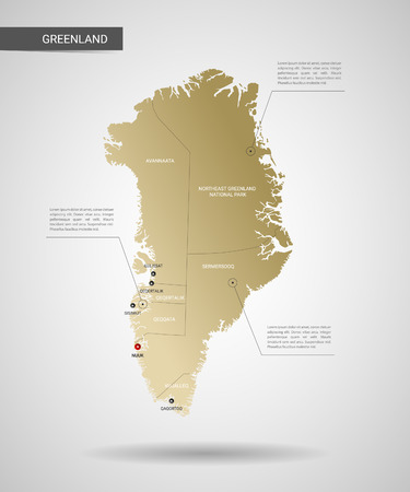 Stylized vector Greenland map. Infographic 3d gold map gradient background. Illustration