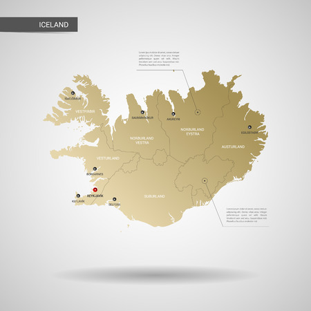 Stylized vector Iceland map. Infographic 3d gold map illustration with cities, borders, capital, administrative divisions and pointer marks, shadow; gradient background.