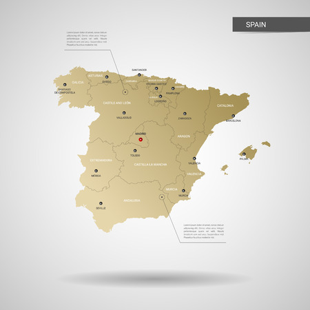 Stylized vector Spain map.  Infographic 3d gold map illustration with cities, borders, capital, administrative divisions and pointer marks, shadow; gradient background.