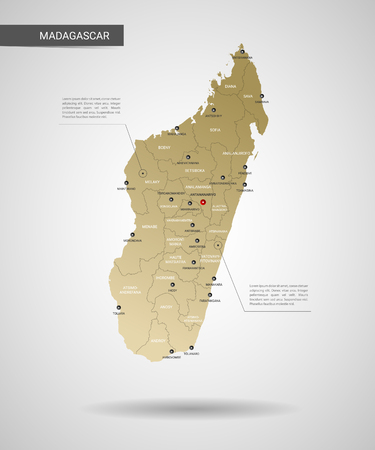 Stylized vector Madagascar map. Infographic 3d gold map illustration with cities, borders, capital, administrative divisions and pointer marks, shadow; gradient background.