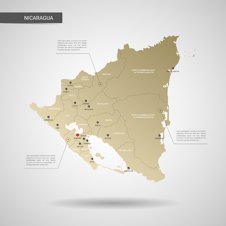 Stylized vector Nicaragua map.  Infographic 3d gold map illustration with cities, borders, capital, administrative divisions and pointer marks, shadow; gradient background.